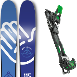 Pack ski+fix MOVEMENT MOVEMENT FLY SMASHER 17 + TYROLIA ADRENALIN 13 BLK/GRN W/O BRAKE 16 - Ekosport