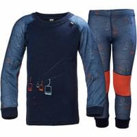 HELLY HANSEN K HH LIFA MERINO SET 2 JR EVENING BLUE/SKILIFT PRINT 18