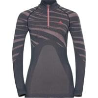 Haut ODLO ODLO T-SHIRT ML 1/2 ZIP PERFORMANCE W ODYSSEY GRAY - MESA ROSE 19 - Ekosport
