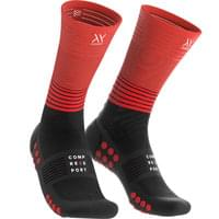 COMPRESSPORT MID COMPRESSION SOCKS BLACK/GRENADINE 19