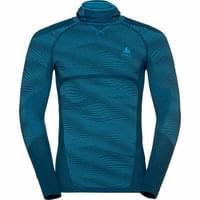 ODLO T-SHIRT ML PERF CAPUCHE POSEIDON BLUE JEWEL ATOM 19