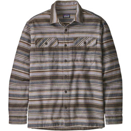 PATAGONIA M'S L/S FJORD FLANNEL SHIRT FOLK DOBBY: BRISTLE BROWN 20
