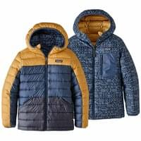 PATAGONIA BOYS' REVERSIBLE DOWN SWEATER HOODY GLYPH GOLD 20