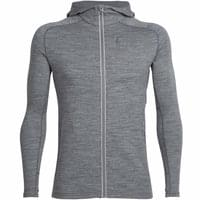 ICEBREAKER MENS QUANTUM LS ZIP HOOD GRITSTONE HEATHER 20