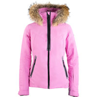 DEGRÉ 7 GEOD SKI JACKET MECH STRETCH 15K/10K PRIMALOFT BLACK ECO REAL FUR PINK 20