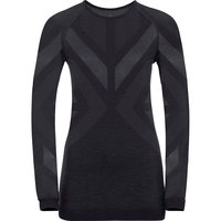 Sous vêtement thermique ODLO ODLO NATURAL + KINSHIP WARM BL TOP CREW NECK L/S W BLACK MELANGE 21 - Ekosport