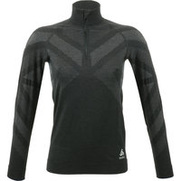 BU TEXTILE ODLO ODLO T-SHIRT ML 1/2 ZIP NATURAL W BLACK MELANGE 21 - Ekosport