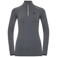 Boutique ODLO ODLO T-SHIRT ML 1/2 ZIP PERFORMANCE WARM W GREY MELANGE/BLACK 21 - Ekosport