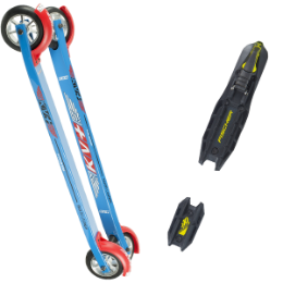 Pack ski KV+ KV+ LAUNCH SKATE CURVED 60CM SLOW WHEELS 18 + FISCHER ROLLERSKI SKATE BLACK YELLOW 19 - Ekosport