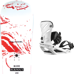 Snowboard RIDE RIDE BURNOUT 20 + SALOMON RHYTHM WHITE 20 - Ekosport